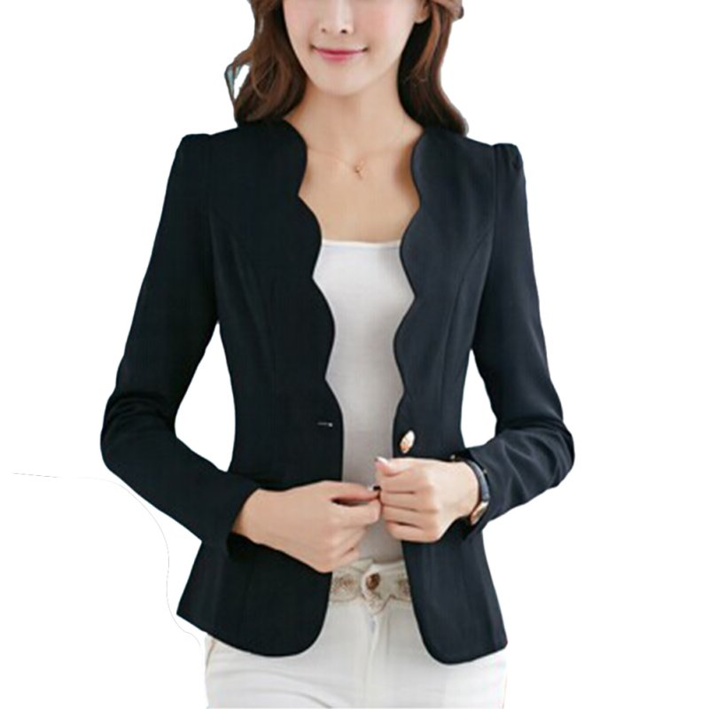 Suit Jacket Blazer Work-Wear Coat Women Long-Sleeve Autumn Fashion Ladies Slim OL title=