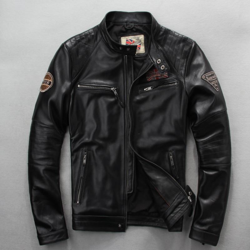 Free Shipping.wholesales,Genuine Leather Jacket,motor Biker Jacket For Man.black Slim Sheepskin Coat.sales Plus Size Cool