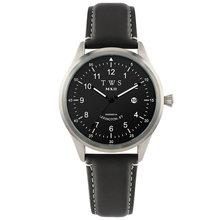 Матовые мужские часы с натуральным лицевым покрытием черные