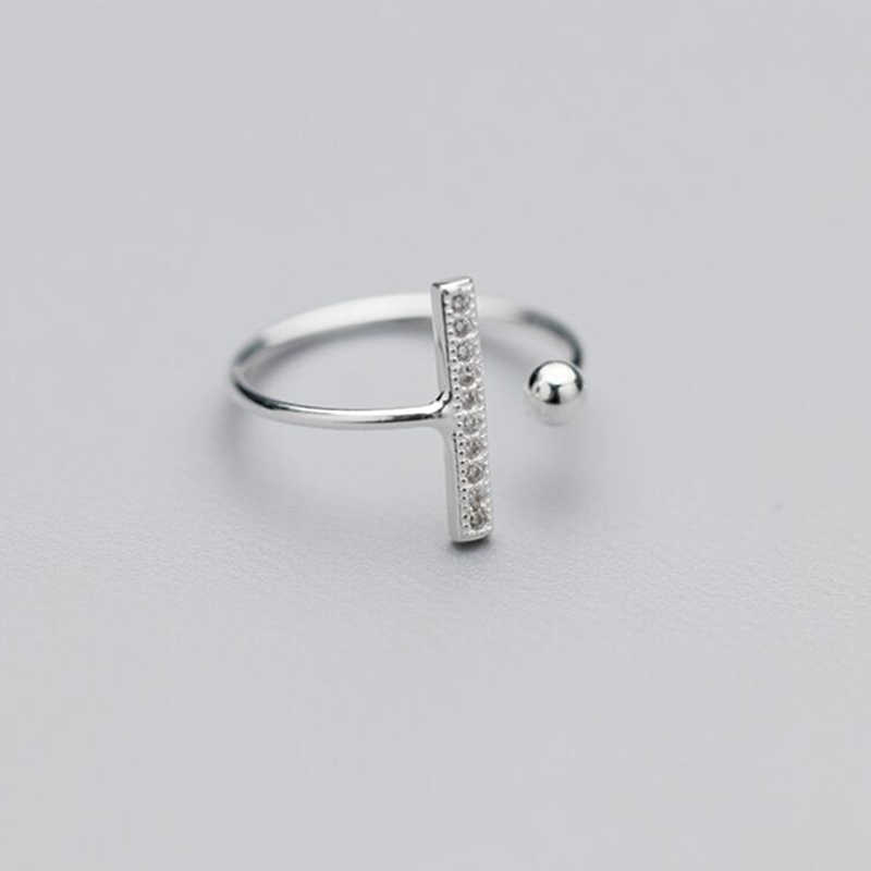 100% 925 Sterling Silver Fashion Stick CZ And Ball Cocktail Ring Sizable 5 6 7 Girls Women Teens Gift Jewelry