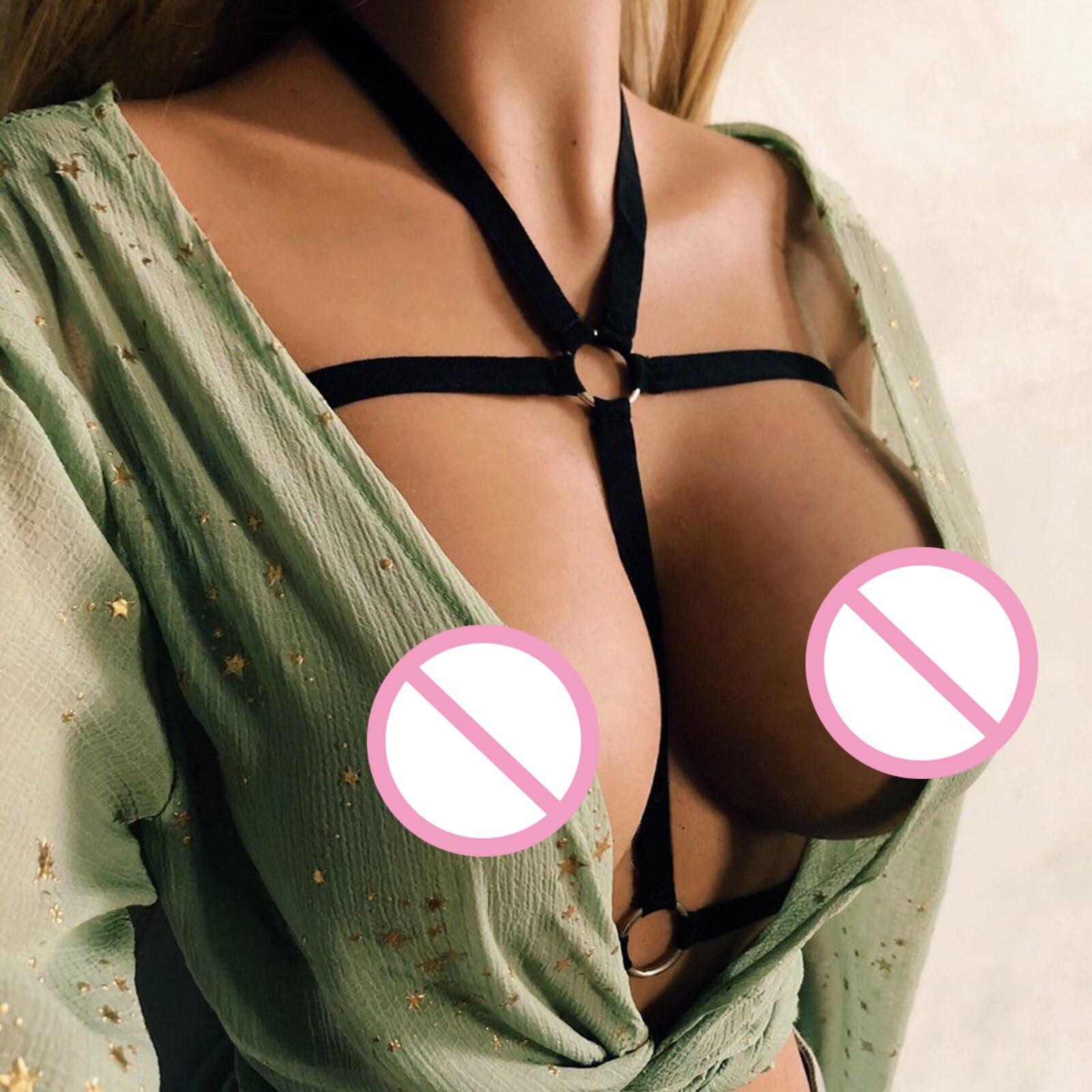 Sexy femmes Lingerie Cupless soutien-gorge érotique à bretelles haut élastique corps sangle sous-vêtements noir sensuel tenue femme Lingerie soutien-gorge