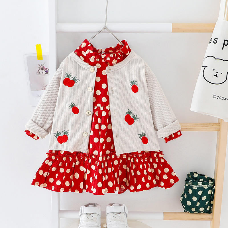 Spring Baby Girl Outfit Lovely Long Sleeve Dot Dress+Cardigan Coat 2pcs Cotton Birthday Kids Suit Toddler Casual Children's Set