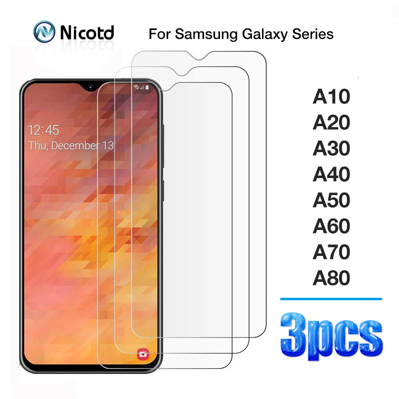 3PCS Tempered Glass For Samsung A10 A20 A30 A40 A50 A60 A70 A80 Protective Glass Screen Protector On Galaxy A 10 20 30 40 50 60