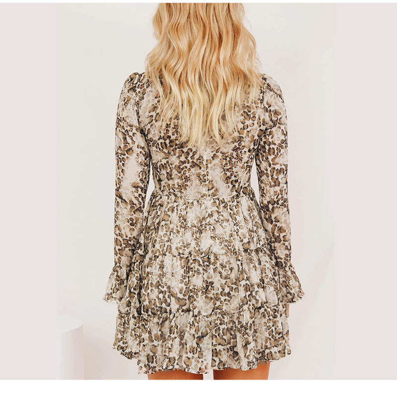 DICLOUD Leopard Print Turtleneck Chiffon Dress for Women 19 Autumn Winter Long Sleeve Mini Party Dress Sexy Clothing Female 7