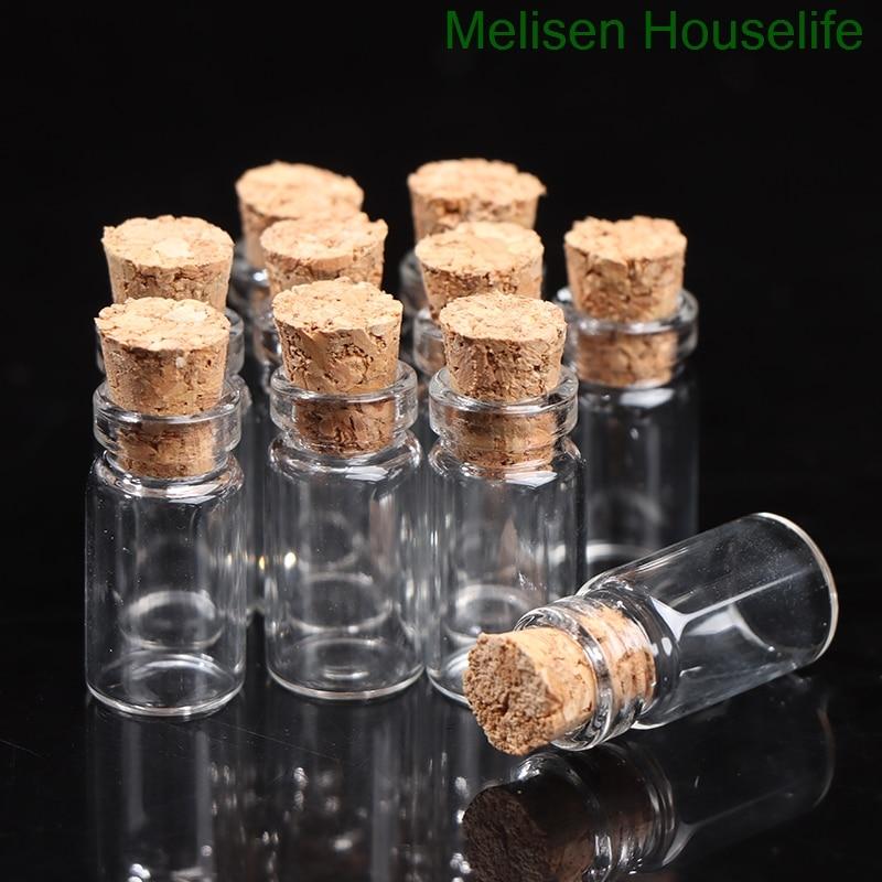 10pcs mini transparent glass bottle storage transparent cork handicraft storage gift wedding float bottle