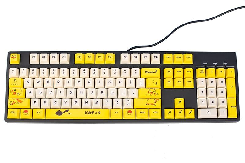 110 Keys PBT Dye Sublimation Key Cap Mechaincal Keyboard Cherry Profile Keycap For Pikachu MX Switches Key Caps