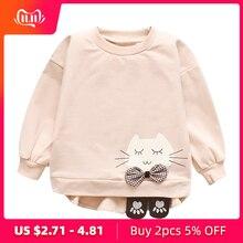 Свитер для девочек на весну-осень; футболка с длинными рукавами и рисунком милого кота для маленьких девочек; топы; детский пуловер; пальто; одежда
