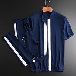 Estate Uomo (giacca + pantaloni) contrasto di Colore Della Chiusura Lampo Giacca A Maniche Corte Più Il Formato 4xl Elastico In Vita Uomo di Sport Set