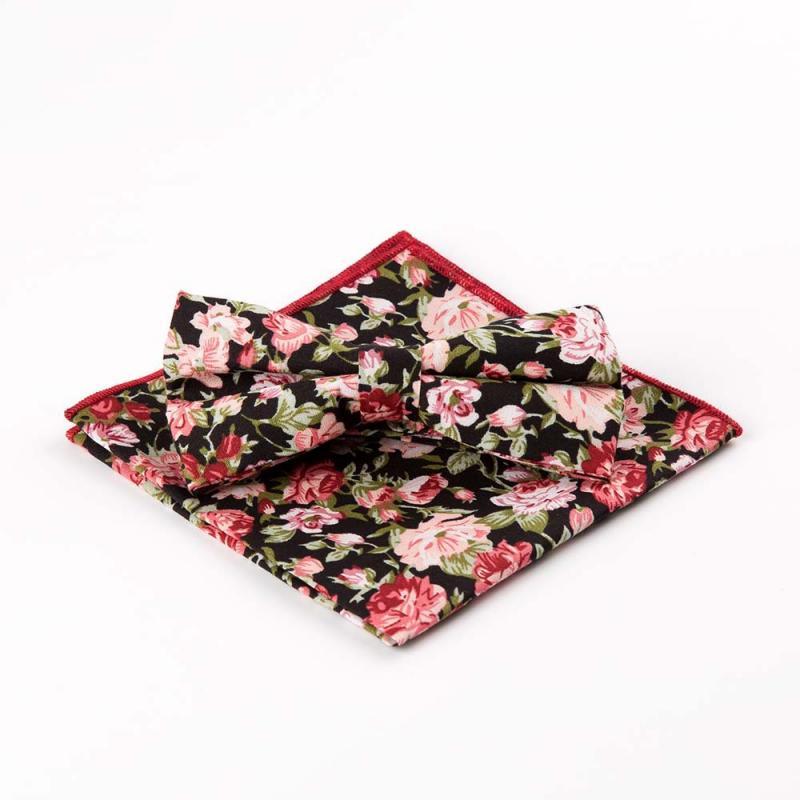 Fashion Men's Cotton Printed Handkercheifs Bow Tie Set Male Business Wedding Party Pocket Square Bowties Hankies