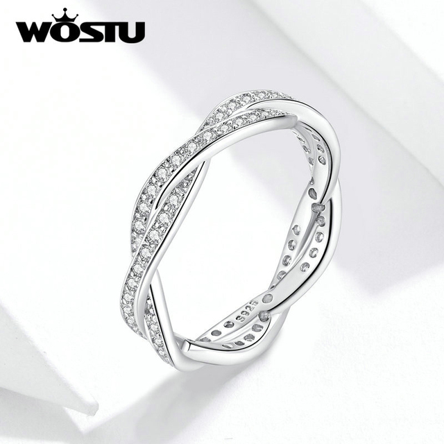 WOSTU Hot Sale 100% 925 Sterling Silver Styles Stackable Ring Party Finger Wedding Rings For Women Original Fashion Jewelry Gift 5