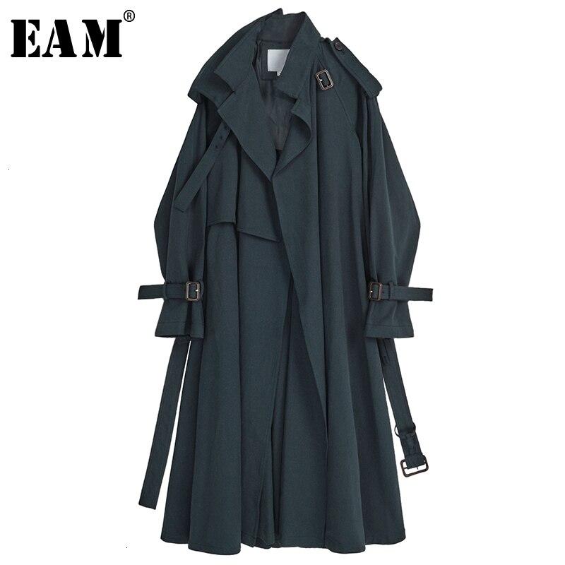 [EAM] Women Navy Blue Long Big Size Trench New Lapel Long Sleeve Loose Fit Windbreaker Fashion Tide Autumn Winter 2020 1K758