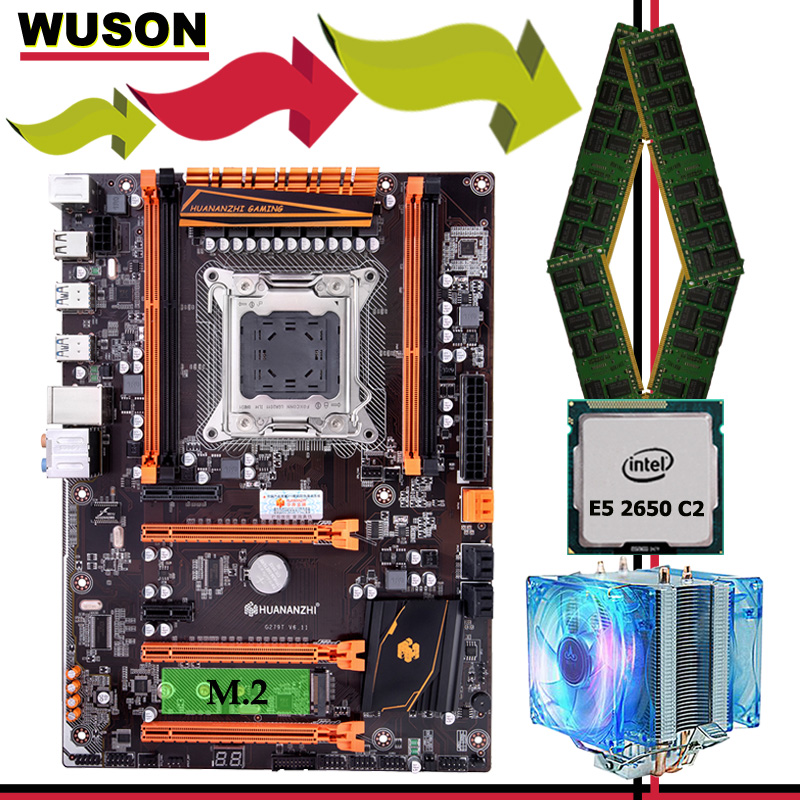 Brand motherboard set on sale HUANANZHI deluxe X79 motherboard with M.2 NVMe CPU Xeon E5 2650 C2 with cooler RAM 16G(4*4G) RECC 1