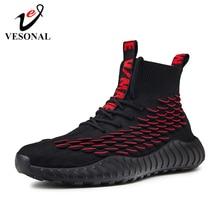 Vesonal 2019秋の新魚スケール靴下スニーカー男性靴カジュアル高トップヒップホップ軽量通気性の男性の靴