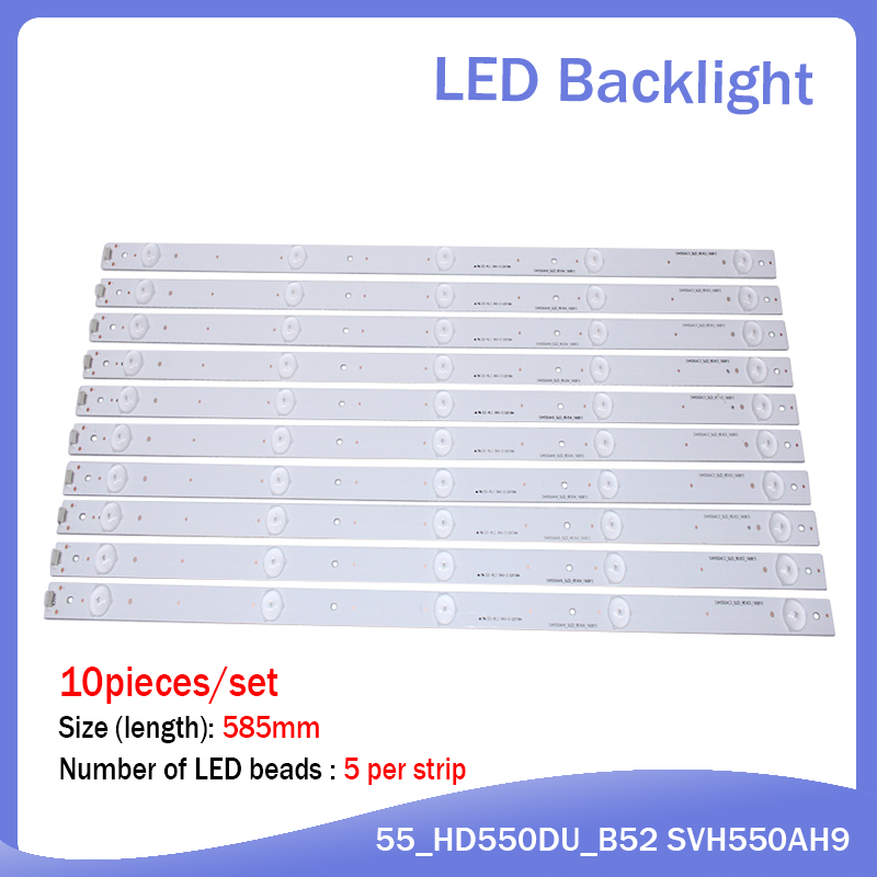 (New Kit)10 PCS/set 5LEDs 584mm LED Backlight Strip For SVH550AH9 SVH550AC3 5LED HD550DF LED55K220 LED55K1800 LED55K220