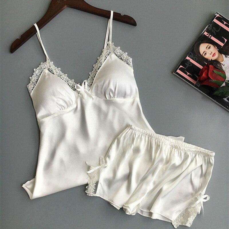 QWEEK Cotton Two Piece Set Women Sleepwear Silk Pajamas  Chest Pad Nightwear Women 2019 Summer Lace Homewear Women Lingerie