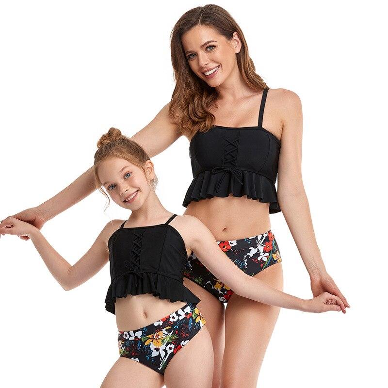 2021 nouveau maillot de bain Parent enfant gilet Bikini taille haute TANKINI