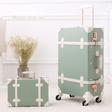 """Trolley case Retro suitcase 20 inchs boarding suitcase Female leather luggage 20""""&12"""" Handbag suit spinner Lightweight trunk"""