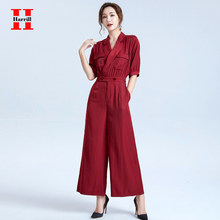 Turn-down Collar Straight Jumpsuits Women High Waist Button Design Office Ladies Rompers Streetwear Elegant Jumpsuits Summer(China)