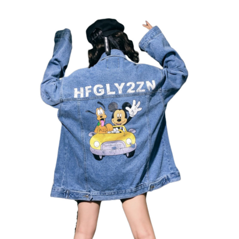 Denim Jeans   Jacket   Print Mickey Mouse Cowboy Loose Coat Female Woman 2019 Autumn Chaqueta Mujer   Basic     Jackets   Outerwear & Coats