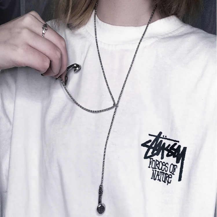 Sohot 새로운 멀티 레이어 펑크 스타일 남여 여성 남성 긴 펜던트 목걸이 세련된 총 블랙 힙합 매력 쥬얼리 스웨터 체인
