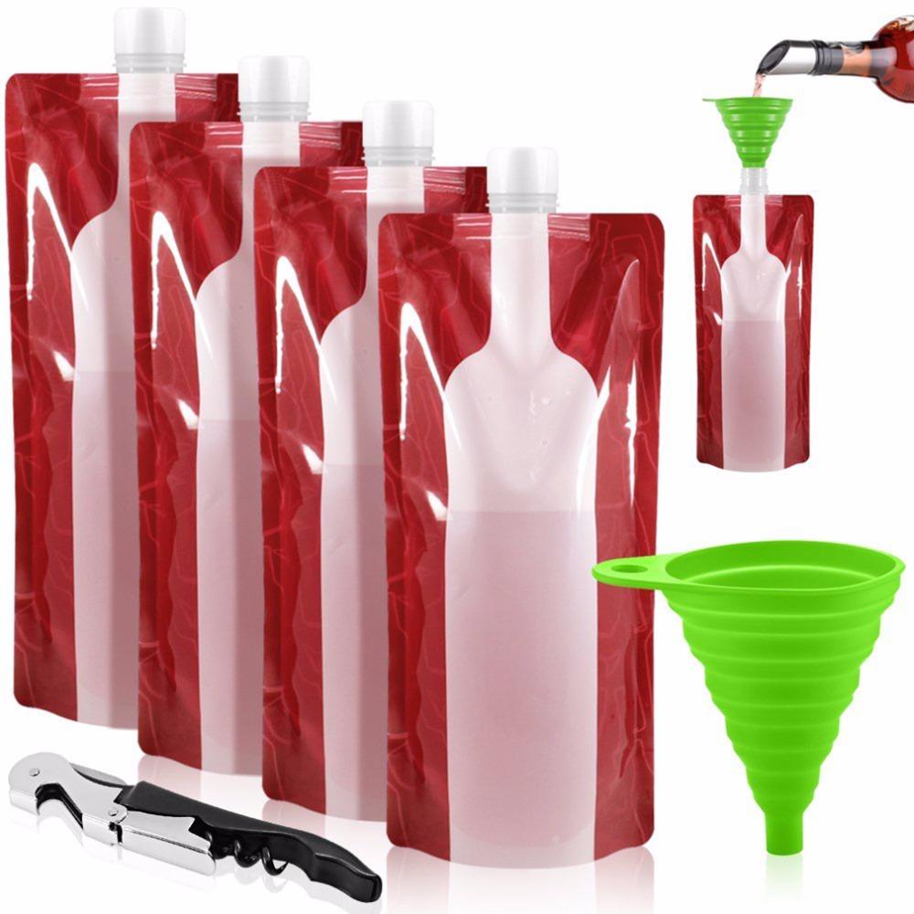 [해외] 와인 가방 깨지지 않는 플라스크 여행 장비 액세서리 플라스틱 접이식 재사용 가능한 휴대용 병 - 와인 가방 깨지지 않는 플라스크 여행
