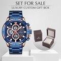 Männer Uhr NAVIFORCE Top Marke Luxus Quarz herren Uhren Voller Stahl Chronograph Uhr Mit Box Set Für Verkauf Relogio masculino