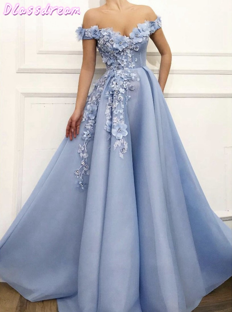 Off Shoulder Tulle Prom Dresses 2020 Women Formal Party Night Long Vestidos De Gala Light Blue Appliqus Elegant Evening Gowns