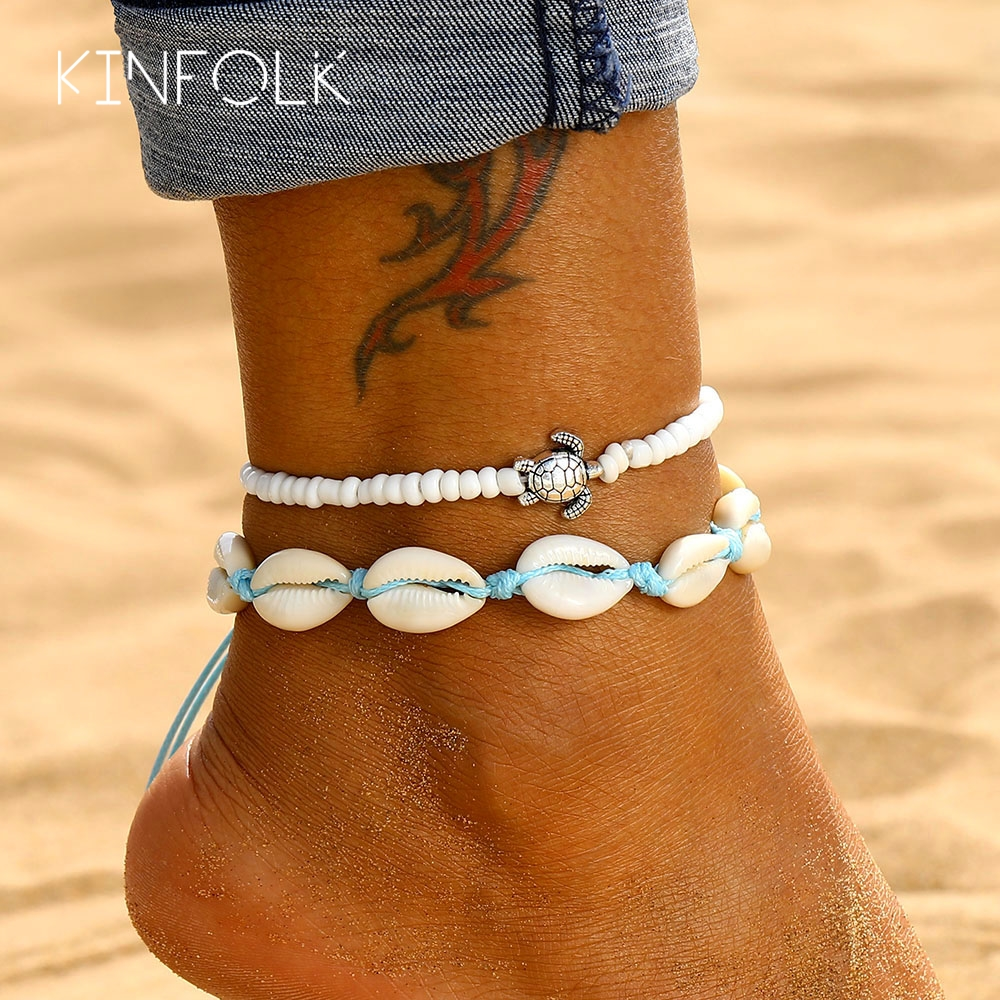 KINFOLK Shell Anklets For Women Bohemian Foot Jewelry Summer Beach Bracelet Ankle On Leg Ankle Strap Accessories Shell Anklets