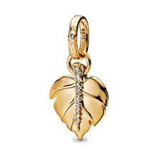 2019 Autumn New Jewellery 925 Sterling Silver Gold Leaf Pendant Bead Fit Original Pandora Charms Bracelet for Women Jewelry(China)