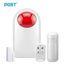 Pgst sirene sem fio indoor piscando alarme sensor para 433mhz sistema de alarme segurança em casa conectar com controle remoto