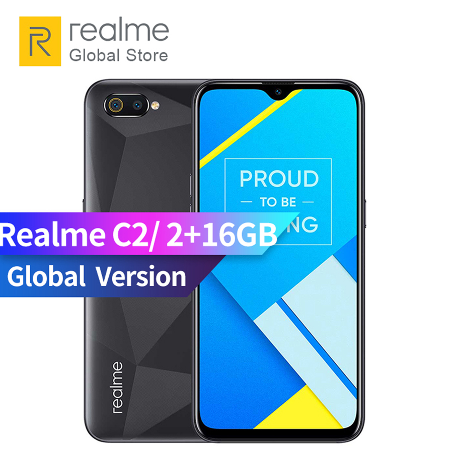 Original Global Version OPPO realme C2 2GB RAM 16GB ROM 15.5 HD+ Dewdrop Full Screen 13 + 2MP AI Dual Rear Camera Smartphone