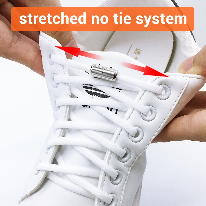 1 Pair Metal Lock NO TIE Shoelaces Stretched Lazy Round Shoe Lace Slip-on Shoelaces Elastic Laces Shoestrings 10 Colors