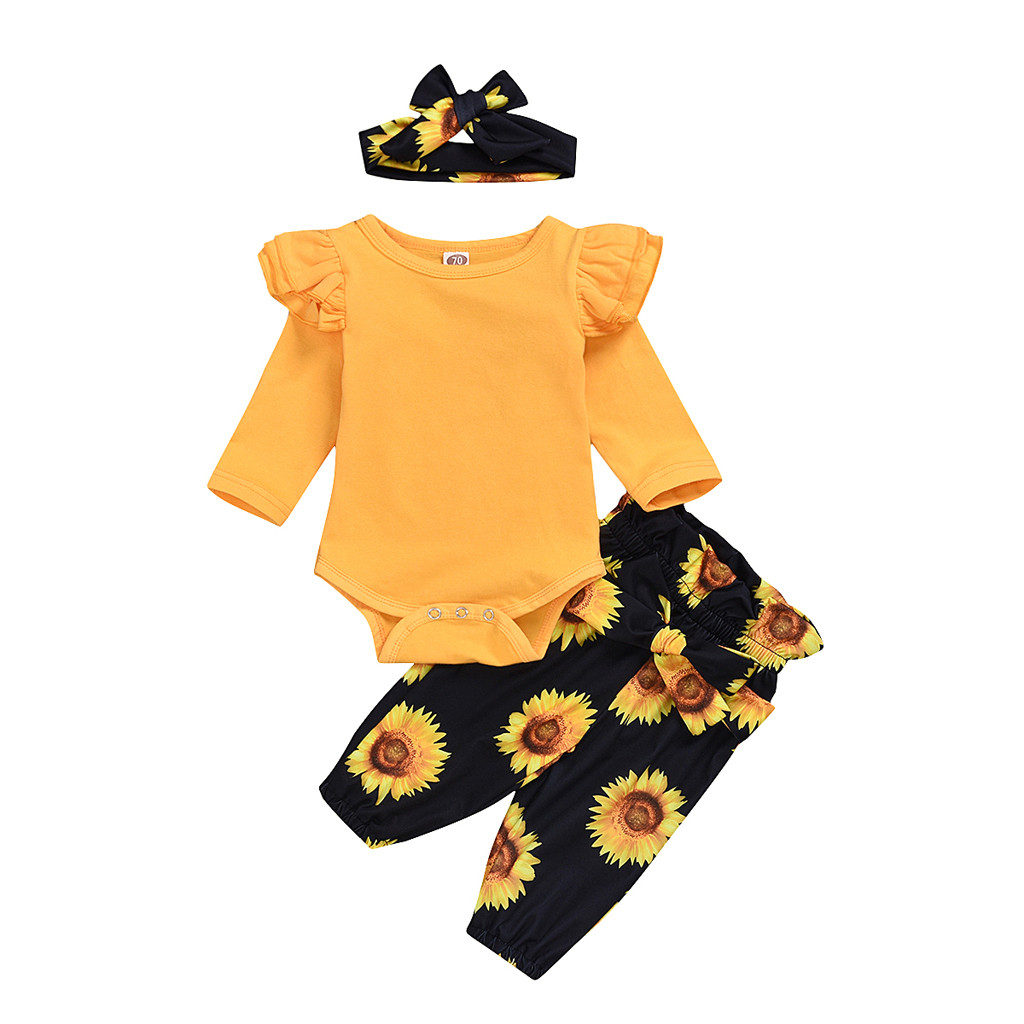 TELOTUNY 2020 Newborn Infant Baby Girl Romper Tops Sunflower Floral Pants Headband Outfits Set Romper Baby Clothes Fashion