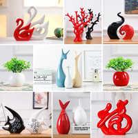 Moderne Keramik Tier Schwan Deer Ornamente Bücherregal Zubehör Handwerk Einrichtungs Wohnzimmer Büro Desktop Figuren Decor