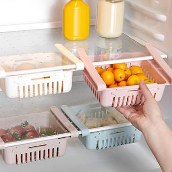 Uchwyty do przechowywania Organizer do kuchni regulowany kuchenny pojemnik do lodówki stojak lodówka z zamrażarką uchwyt półki szuflady organizator tanie i dobre opinie Liplasting Z tworzywa sztucznego 20 5 x 16 4 x 7 6cm