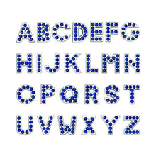 1pc A-Z Royal blue English letter Alphabet Internal Dia:8mm Slide Letter charms Fit DIY Accessories keychain Bracelet Pet Collar(China)