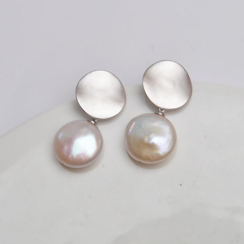 ASHIQI Real 925 Sterling Silver Korean Earring Big Natural Freshwater Baroque Pearl fashion jewelry for women серьги позолото
