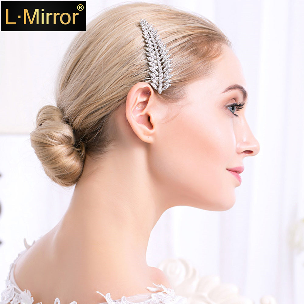 Crystal Rhinestone Diamante Leaves Bridal Wedding Bridesmaid Hair Comb Clip