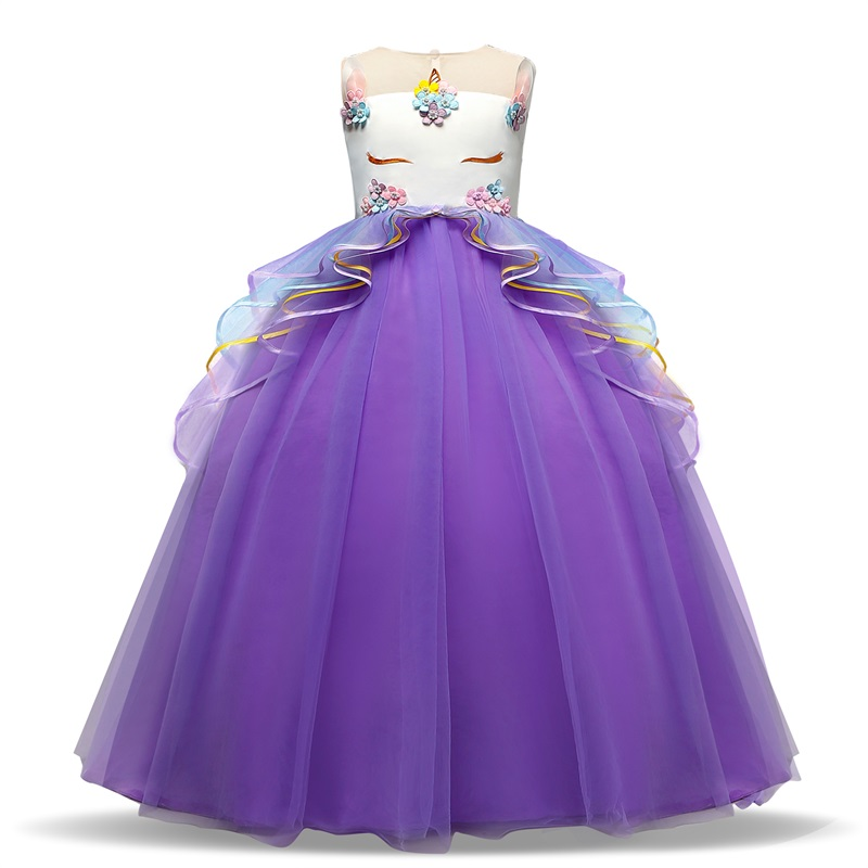 Princess Party Dress Unicorn Birthday Children Clothing Appliques Wedding Gown Kids Dresses for Girls Floral Elegant Vestidos