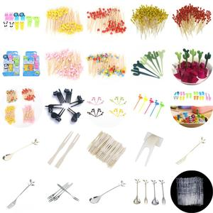 1-100pcs Disposable Bamboo Fork Twisted Party Buffet Fruit Desserts Food Cocktail Sandwich Fork Stick Pick Skewer(China)