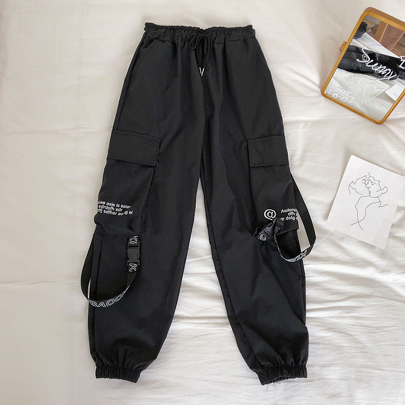 H28ca9384321a4eefb5f9595a8c668671T - Neploe Hip Hop Streetwear Women Cargo Pants High Waist Pockets Ribbon Trousers Female Loose All Match New Fashion 90230
