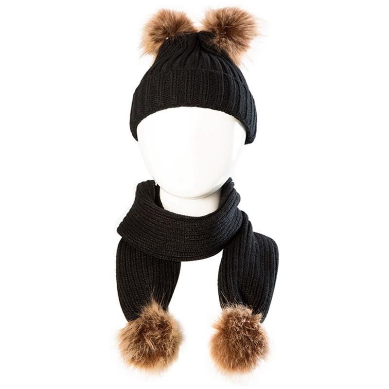Fashion Kids Baby Boy Girl Pom Pom Hat Winter Warm Crochet Knit Bobble Beanie Cap