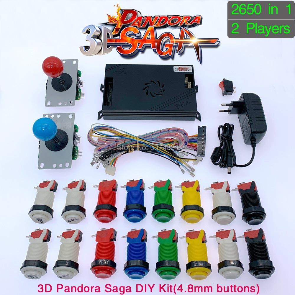 3D Pandora Saga Box 2650 In 1 DIY Arcade Kit Game Board 8 Way Joystick & American Style Push Button For 2 Playes Arcade Machine