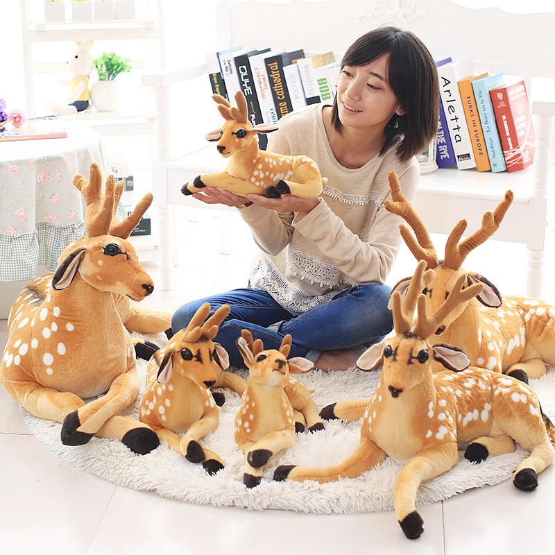2019 Hot Sale Cute Gift 3 Size Christmas Deer Home Decoration Plush Reindeer Furry Deer Xmas Party Ornament Happy New Year Gift