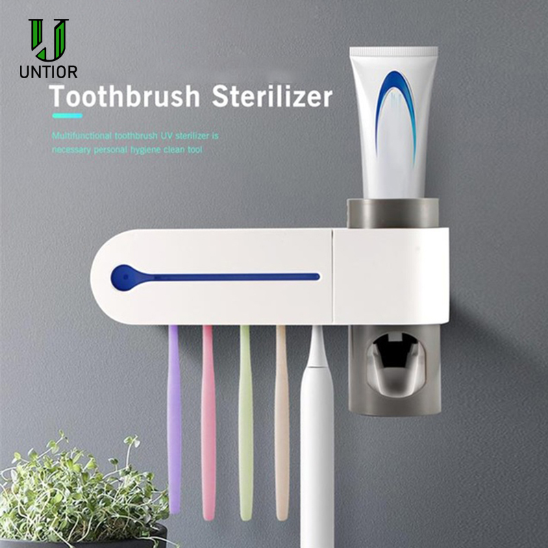 UNTIOR 3 In 1 UV Light Ultraviolet Toothbrush Sterilizer Automatic Toothpaste Dispenser ToothBrush Holder bathroom accessories image