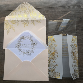 Personalized gorgeous foil printing vellum invitation with acrylic luxury set