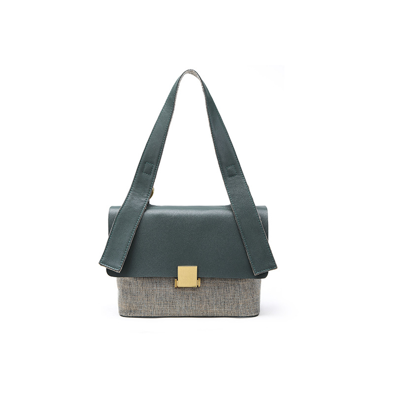 Designers Genuine Leather Vintage Shoulder Bag Women Computer Bags For Ladies Patchwork Crossbody