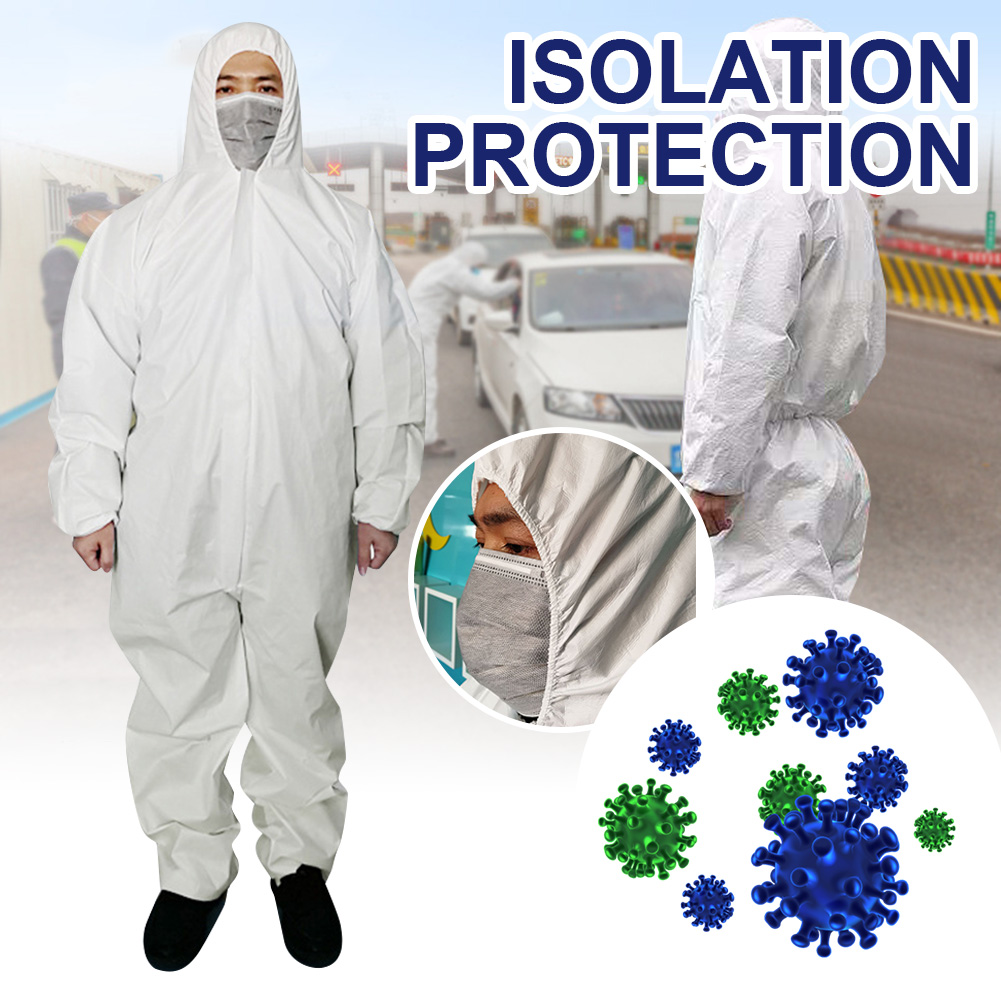 Disposable Protective Clothing Anti-Dust Isolation Hooded PE Coverall Ventilation Front Zipper Hospital Safety  Clothing