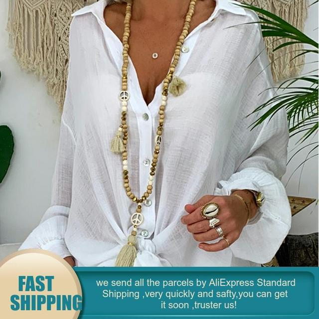 Long Sleeve Plus Size Linen Shirt Women White Button Down Shirt Loose Casual Cotton Blouse Womens Tops and Blouses Shirts Blusas 2