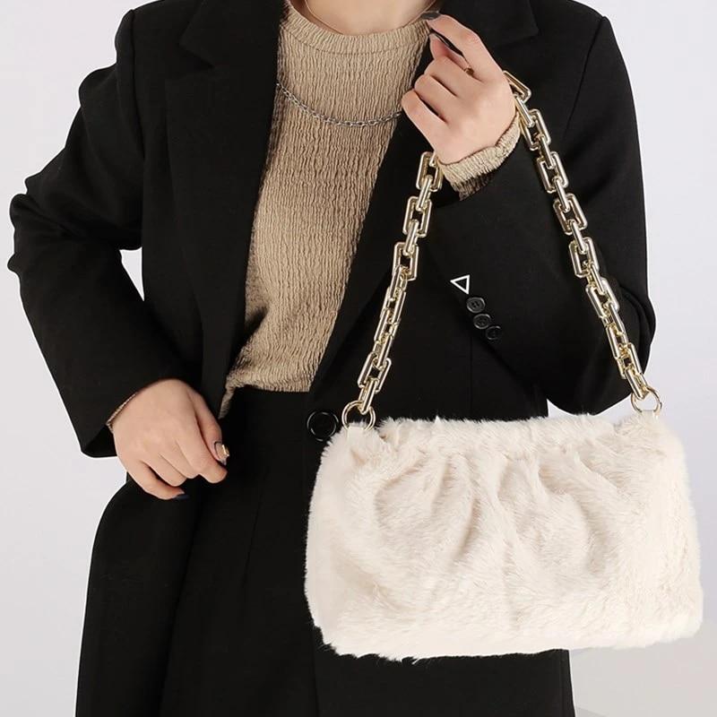 Plush Handbag Womens Ladies NEW Faux Fur Shoulder Bag Fluffy Clutch Tote Bags